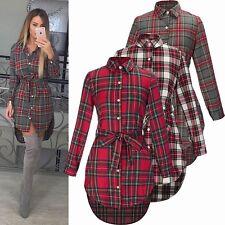 UK Plus Size 8-20 Womens Long Check Shirt Ladies Long Sleeve Plaid Romper Dress