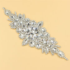 1 Pc Clear Glass Rhinestone Sewing Iron on Appliques Trims Bouquet Dress Crafts