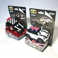 2x GO Mini Cooper S Black White Mini Pullback Stunt Racer REBEL & SALT TOY CARS