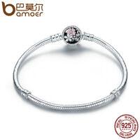 Bamoer .925 Sterling Silver Snake Bracelet With Clear CZ Blooms Flower Jewelry