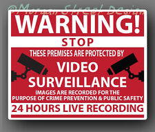 Video Surveillance Security Warning Caution Decal Sticker. Set of 5