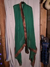 """Oversized Indian Style """"Chiffon"""" Scarf Green, Red Gold Edging, Silver Sequin  22"""