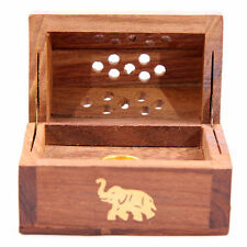 Wooden coffin Incense Burner/Sticks/Cones/Holder  Box with Brass Elephant Inlay