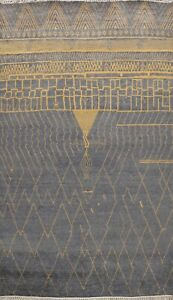 Geometric Modern Moroccan Abstract Oriental Area Rug Hand-Knotted Wool 9x12 ft