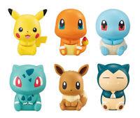 Bandai Pokemon Figure Clip Gashapon Pikachu Charmander Eevee Snorlax set 6 pcs