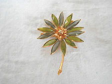 Vintage Corocraft cut glass  flower brooch signed