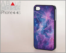 iPhone 4 4s CASE CUSTOM DESIGN Galaxy purple print with geometric triangle line