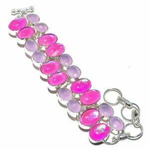 """Pink Triplet Fire Opal 925 Sterling Silver Jewelry Bracelet 7-8"""""""