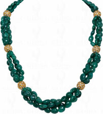 EMERALD GEMSTONE BEAD WITH PEARL STUDDED JADAU BALL NECKLACE LN1006