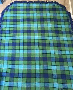 Vintage Morgan-Jones Twin Blue Green Cotton Bedspread W/ Fringe Square Patchwork
