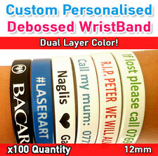 School Leavers - Custom Personalized Silicone Wristband Dual Color x100