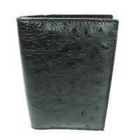 New Genuine Black Ostrich Leather Soft Skin Mens Passport Holder Slim Wallet.