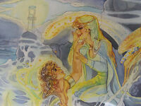 1984 SELKIE MERMAID LOVE w/c Painting SHERRY WHEELER ANIMATION ARTIST