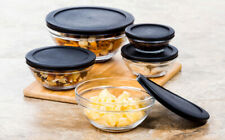 10 Pc Glass Food Storage Containers - Glass Lunch Bowls w/ Black Snap Tight Lids