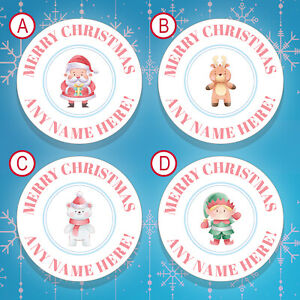 70 x PERSONALISED Christmas Stickers / Christmas Labels Gift Tags Stickers (004)