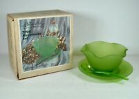 NOS VTG #7298 Indiana Glass Co. Green Satin Glass 3 Piece Mayonnaise Set W/ Box