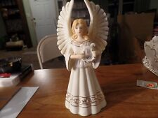 "10"" Tall White W/ Gold Trim Ceramic Angel W/ Harp-Candle Holder #2819"