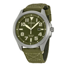 Citizen Eco-Drive Men's AW1410-16X Green Dial Nylon Strap Casual 44mm Watch