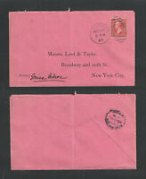 1898 LORD & TAYLOR NEW YORK PINK ADVERTISING COVER US SC #220 + MAIL DETENTION