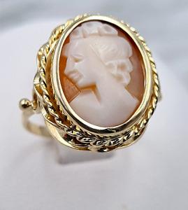 Gemmen-Ring - 585er Gelb-Gold - 1 echte Muschel-Gemme / -Kamee - Ring-Gr: 55