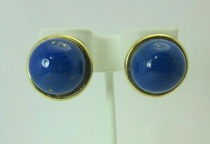 14k Yellow Gold and 16 mm. Lapis Lazuli Earrings Stud Dome