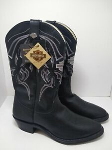 Harley Davidson Black Leather BANDERA Western Boots 91298 Men's Sz 11.5 New