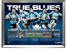 2014 STATE OF ORIGIN NSW BLUES PREMIERSHIP PRINT FRAMED
