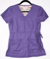 Koi by Kathy Peterson Women's Purple Scrub Top Size XS Style 137