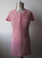 Vintage 60 S JONATHAN LOGAN Rouge & Blanc T-Shirt Rayé Court Slv Mod Mini robe. 8