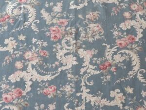 """Beautiful Antique c1880 Pink Roses & Rococo Style Blue Cotton Fabric~L-91""""XW-31"""""""