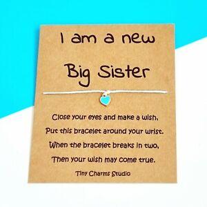 New Big Sister Wish Bracelet, Sister Announcement, Baby Shower Keepsake Gift