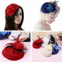 Women Elegant Wedding Party Cocktail Headband Feather Flower Mesh Hat Fascinator