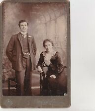 OLD CABINET PHOTO MAN SUIT WATCH CHAIN WOMAN DRESS LACE OC1