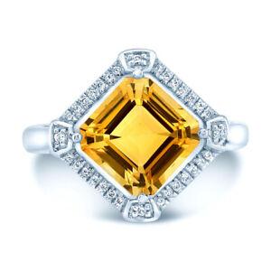 Citrine Diamond Ring 14k White Gold Womens Square Emerald Cut Art Deco 3.50 TCW