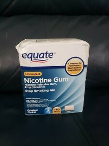 Equate Uncoated Stop Smoking Aid Nicotine Gum 170 Pieces