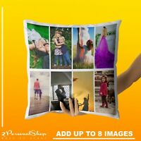 Personalised Photo Pillowcase Cushion Pillow Case Cover Custom Gift up to 8 pics