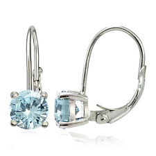 925 Sterling Silver 1.6ct TGW Aquamarine 6mm Round Leverback Earrings
