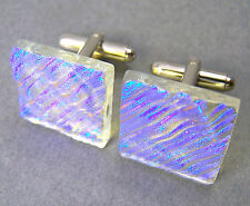 Cuff Links DICHROIC Fused GLASS Blue Moonstone Ripple Striped Mens Formal Wear