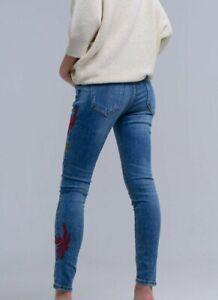 Jeans donna elasticizzati vita alta push up slim skinny pantaloni ricamati da XS