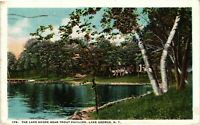 Vintage Postcard - 1923 Shore Near Trout Pavilion Lake George New York NY #4234