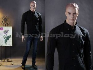 Male Fiberglass Realistic Mannequin with Molded Hair Dress Form Display #MZ-WEN5