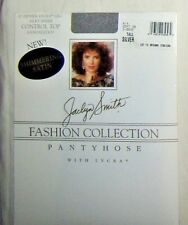 Vintage Jaclyn Smith Control Top Sheer Shimmering Satin Silver Pantyhose Sz Tall