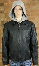 Guess Black Faux Leather Men's Jacket with Hood Size Large