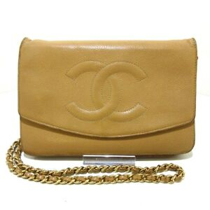 Auth CHANEL A13509 Beige Caviar Skin Other Style Wallet
