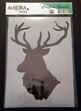 Stencil by Aurora Arts A4 Large Stag Head 190mic Mylar craft stencil 098