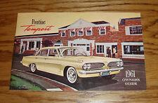 1961 Pontiac Tempest Owners Operators Manual 61