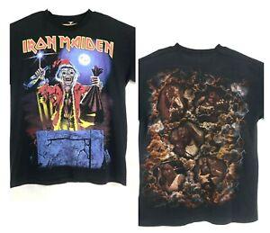 Vtg Iron Maiden T Shirt Santa Single Stitch Black Size Large RARE Rock Band Tee