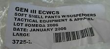 ARMY Gen III ECWCS Soft Shell Pants w suspenders, size Large new    (J1 box)