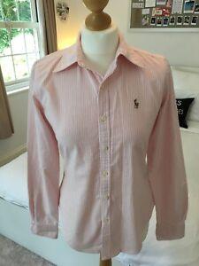 Ralph Lauren Women's Skinny Fit Pink & White Striped Shirt Top Size UK 10 / US 6