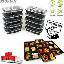 10 Meal Prep Containers 2 Compartment Food Storage Plastic Reusable Microwavable